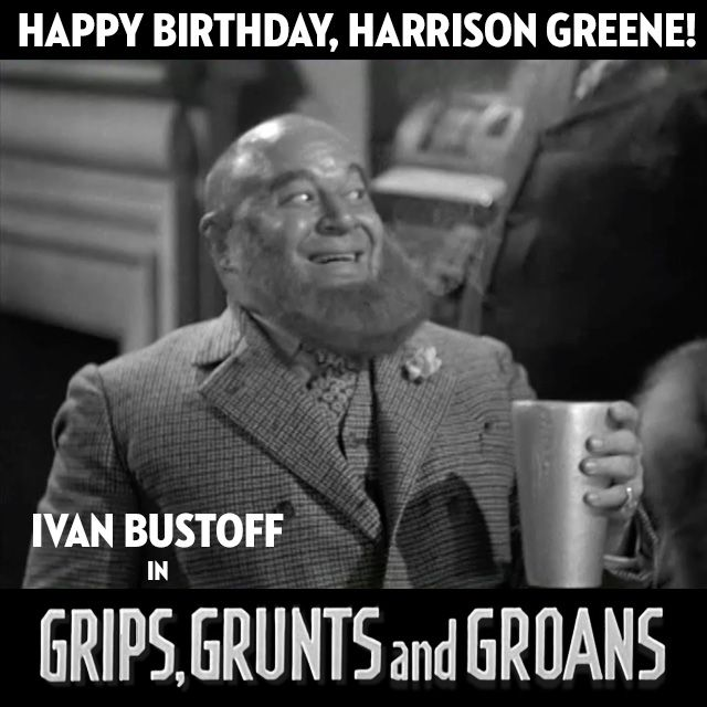 Supporting player Harrison Greene, born today in 1884, had a unique career with The Three Stooges. Besides appearing in their shorts, pictured here as Bustoff from Grips, Grunts & Groans, he also worked in Larry's 1933 feature film solo Stage Mother and with Moe & Curly in the 1934 feature Jail Birds of Paradise. Greene had a prolific career, appearing in over 250 films in a 15 year career. #thethreestooges #threestooges #3stooges #birthday