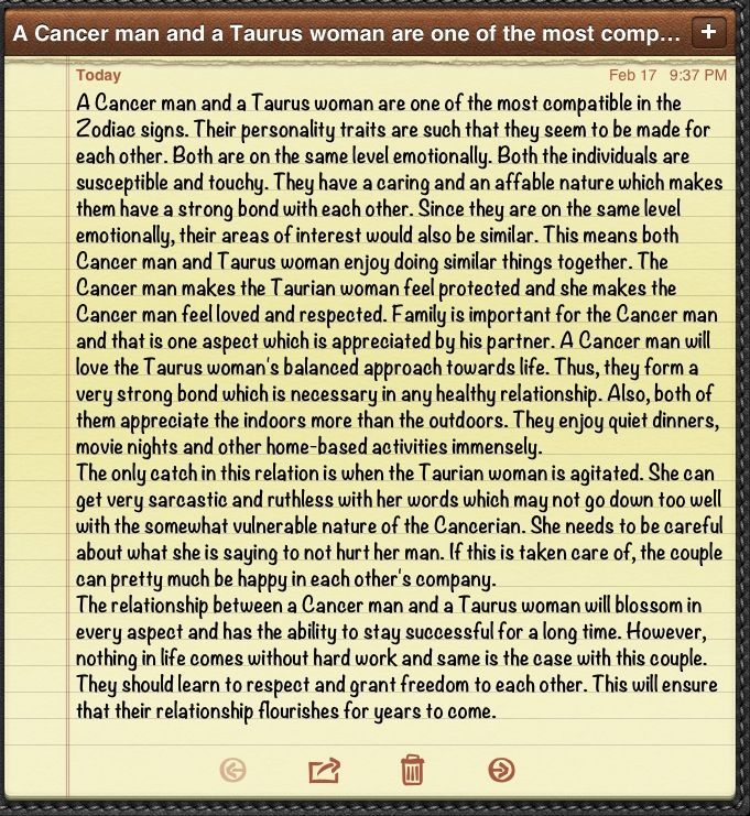 taurus female and cancer male relationship compatibility
