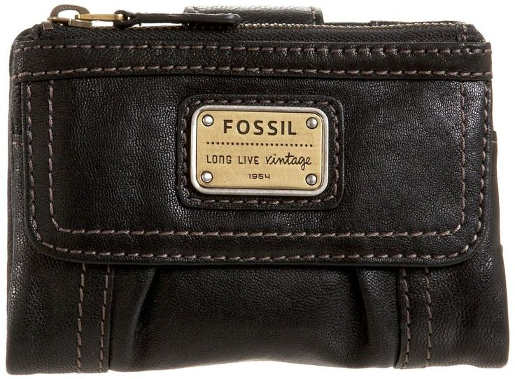 Fossil Black Emory Multifunction Clutch Leather Women Wallet Purse Organizer #Fossil #Clutch