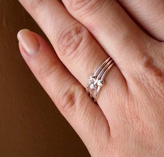 Simply Skinny Large Spinnerette Rustic Organic Fidget Rings - in sterling silver!  #anxietyjewelry #ADHD