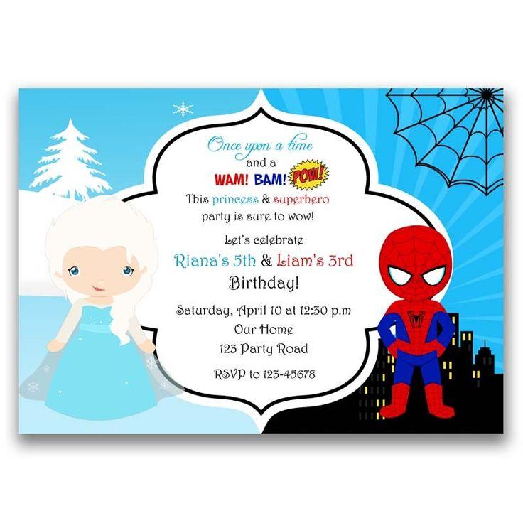 Frozen (Elsa) and Spiderman Inspired Birthday Invitation (Split / Joint / Twin) - CallaChic