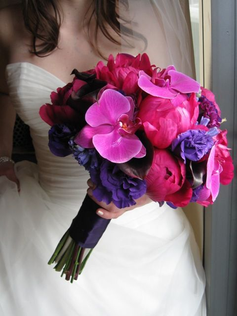 Wedding Bouquet hot pink and purple