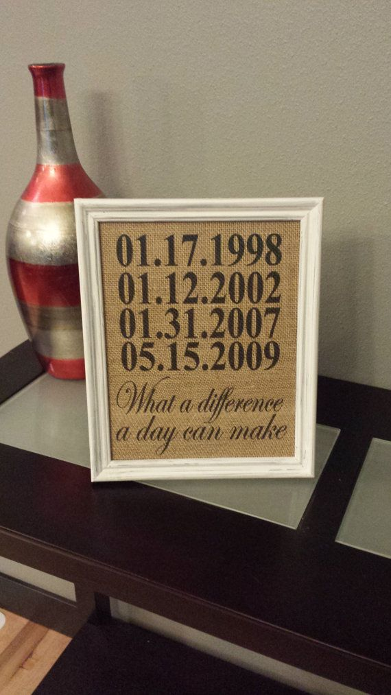 Framed Burlap Print - Custom Important Date Frame - What a Difference A Day Can Make - Anniversary - Customizable - Dates - Family - 8x10