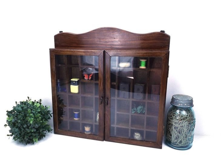vintage 70s wood miniature curio cabinet glass hinged doors knick knacks shelf small display case home decor traditional mini collectible by RecycleBuyVintage on Etsy