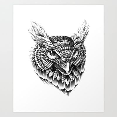 Ornate Owl Head Art Print by BioWorkZ - $16.00