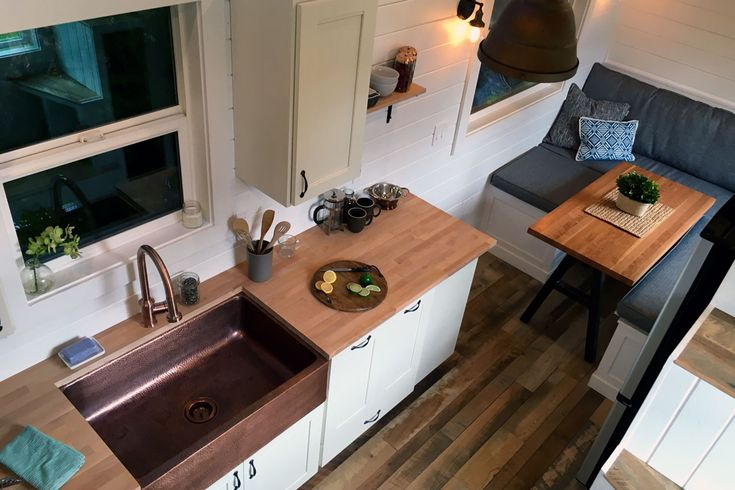 Love this beautiful Rocky Mountain tiny house from Tiny Heirloom. I mean, that kitchen...