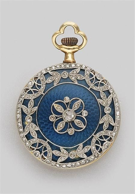 Guilloche Blue Enamel and Diamond Pendant-Watch   Platinum, gold, c. 1910.