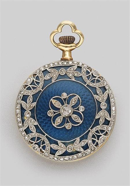 Guilloche Blue Enamel and Diamond Pendant-Watch  Platinum, gold, c. 1910