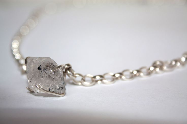 Old Moon necklace set with a Herkimer diamond