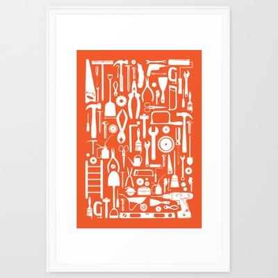 "Tools Poster Tangerine  by CreativeNeesh  Framed Art Print / Scoop White LARGE (Gallery) (26"" x 38"") $129.00"