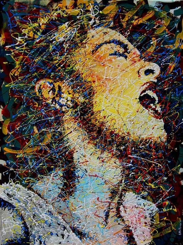 """Titolo: Billie Holiday  firmato Antonio Montanaro acrilici su tela, cm.60x80 tecnica: dripping contatti per l'acquisto: ax.montanaro@libero.it. tel.0835/312459 Lo """"Studio Montanaro"""" è situato nel centro storico di Matera"""
