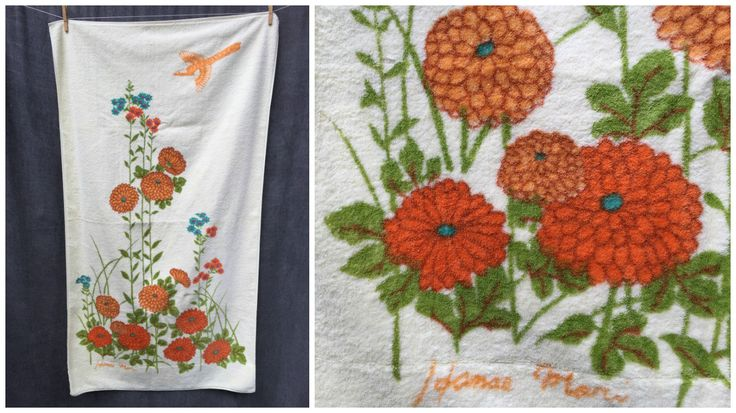70's Hanae Mori Martex Towel Mid Century Flowers Floral Mix and Signature Bird - Bath Size by ElkHugsVintage on Etsy