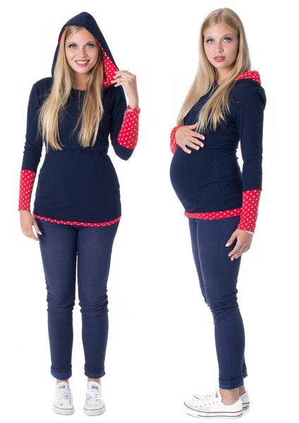 Umstandsmode - Umstandspullover Stillpullover INDIRA PunkteRot1 - ein Designerstück von GoFuture bei DaWanda