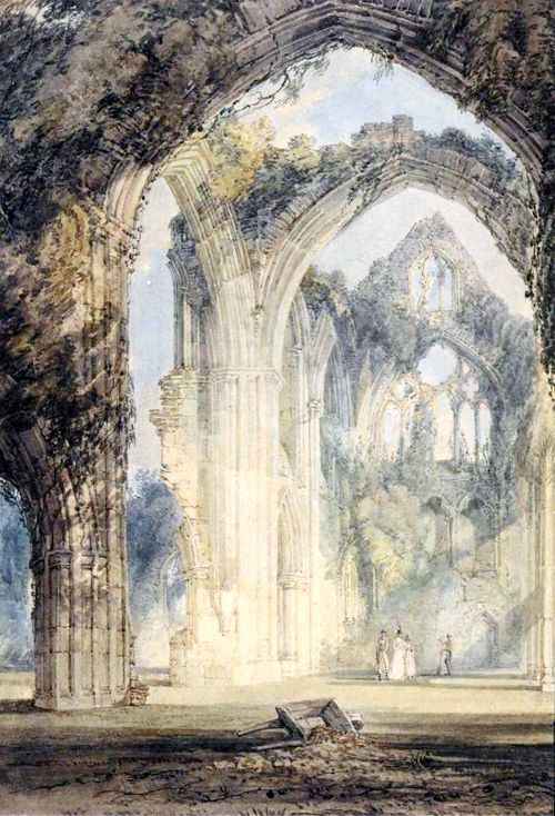 1795 J.M.W. Turner (British Romantic landscape painter,water-colourist, and printmaker; 1775-1851) ~ Tintern Abbey, the Transept