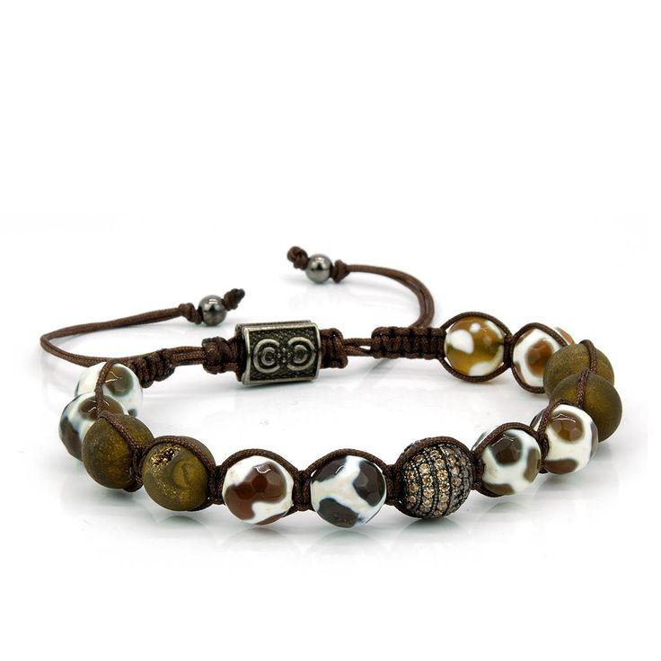 DESERT VIEW | Mens Shamballa Bracelet, Druzy Agate, Cubic Zirconia Bead, 925 Sterling Silver, Mens Jewelry, Gift for Men, Anniversary Gift