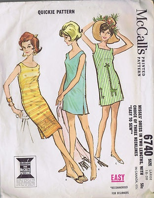 Vintage Chemise Dress 1960s Sewing Pattern McCall 6740 Bust 38 40 Hip 40 42 Cut | eBay