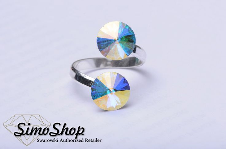 Inel cu cristal swarovski cu bază din argint 925! #simoshop #bijuterii #accesorii #argint #swarovskicrystals #swarovski