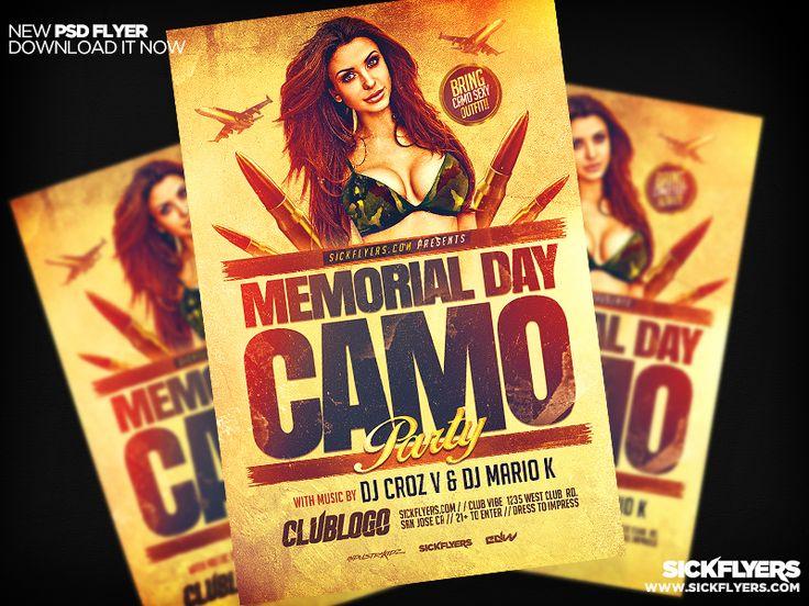 Memorial Day Camo Flyer Template PSD by Industrykidz.deviantart.com on @DeviantArt