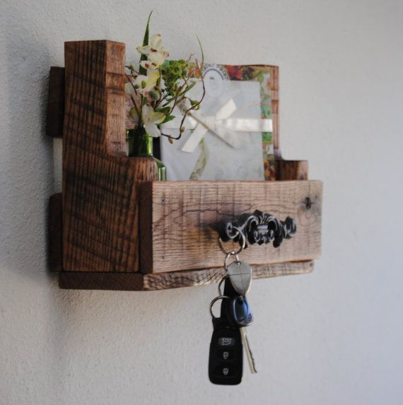 Wooden Shelf   Wall Organzier   Desk Caddy   Handcrafted From Reclaimed  Wood   Mail Organizer   Spice Rack   Key Holder   Made To Order