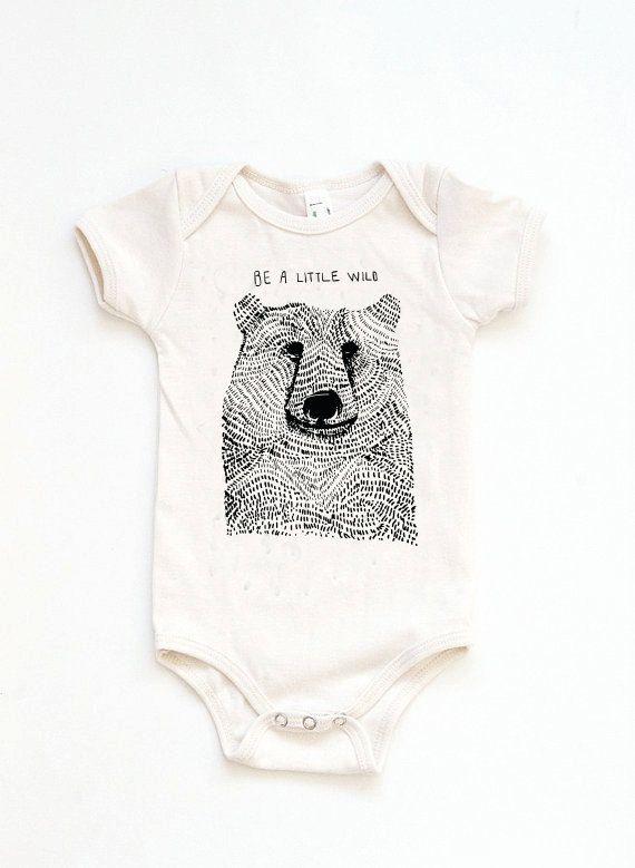 Newborn Onesie, Be Wild Bear Onesie, Woodland Onesie, Woodland Baby Shower, Baby Shower Gift, Modern Baby Clothes, Hipster Baby Clothes, Woodland Birthday Party