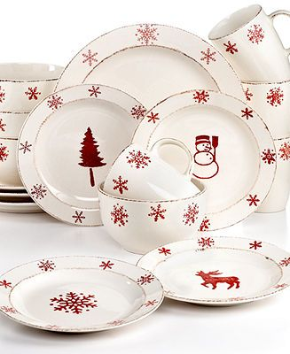 EuroCeramica Dinnerware, Birchwood Holiday 16 Piece Set - Christmas Dining - Holiday Lane - Macy's