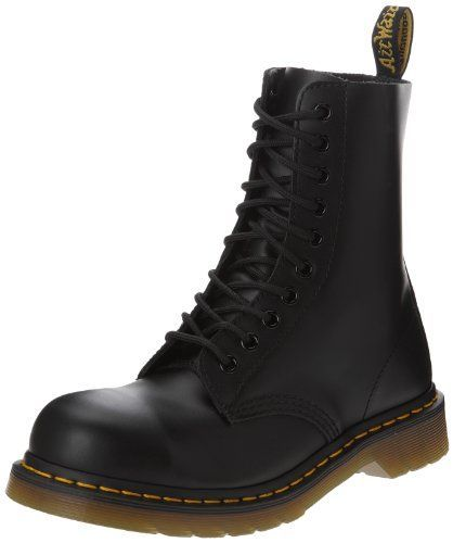 Dr. Martens Classic 1919 Steel Toe Boot,Black Fine Hairce