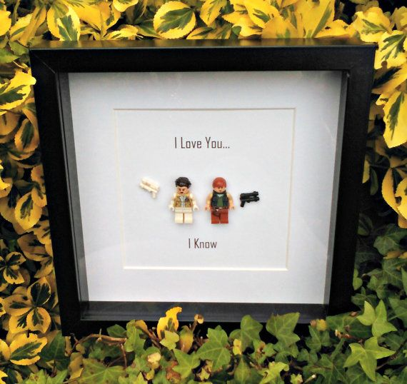 Han and Leia Framed Minifigures Star Wars by DanMakesWithLove