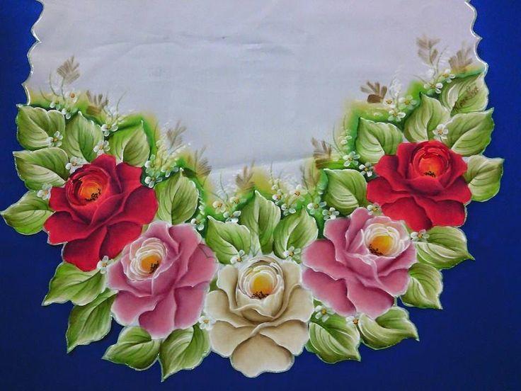 passadeira de tecido e croche pintada - Pesquisa Google