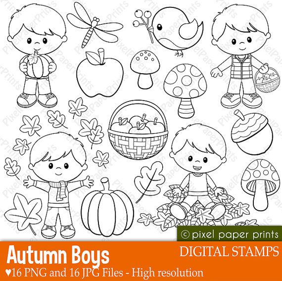 Autumn boys stamps - Digital stamps - Clipart
