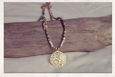 Braided Necklace with 14k gold plated filigree pendant!