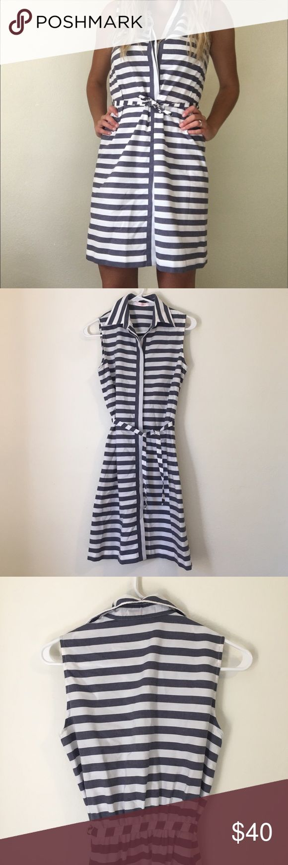 Navy blue and white stripe button up dress Beautifully made navy blue and white striped button up tank dress. Super soft and comfortable. Lightly worn, like new. Tiable belt around the waist that can also be clasped. This belt is not be remove, but it is what makes the dress so flattering! Size Large on the tag, however fits more like a S/M. Bust: 17 in Length: 35 in Jeune Weekend Dresses Midi