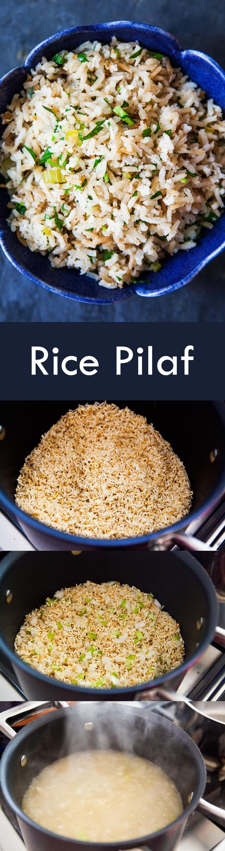 Easy Rice Pilaf! Made with long grain white rice, onion, celery, and stock. Takes only 30 minutes! Great side dish for chicken, pork, or steak. On SimplyRecipes.com