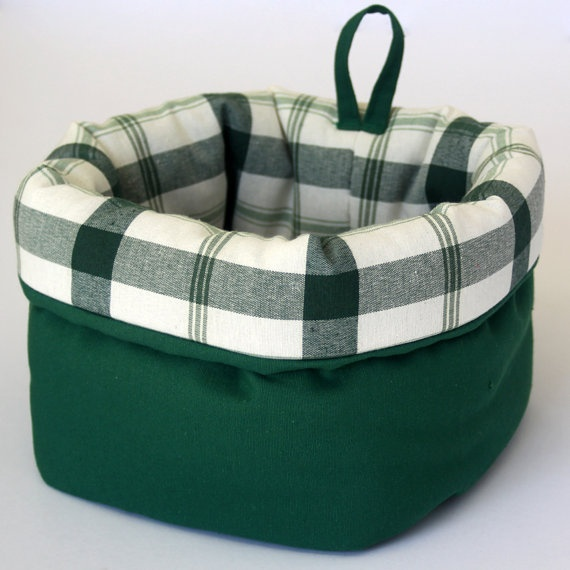 Large fabric basket with lovely plaid lining in by paninohome