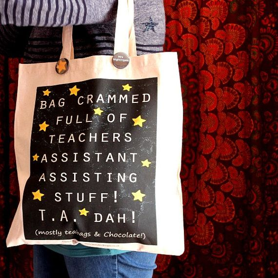 Teaching Assistant Tote Shopper bag by scattyartist on Etsy