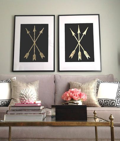 Pi Beta Phi arrow decor! #piphi #pibetaphiDecor, Ideas, Design School, Living Room Design, Black Gold, Leaves, Diy, Gold Leaf Art, Arrows Art