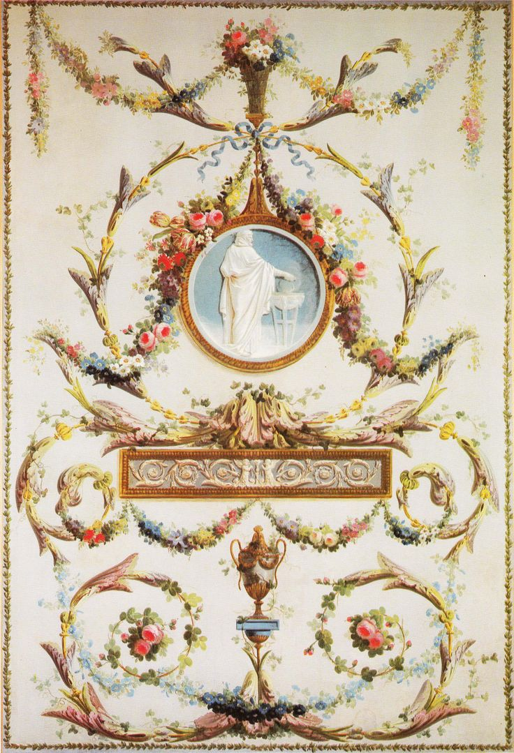 Arabesque Wall Panel Oil On Canvas Circa 1780 85 Book