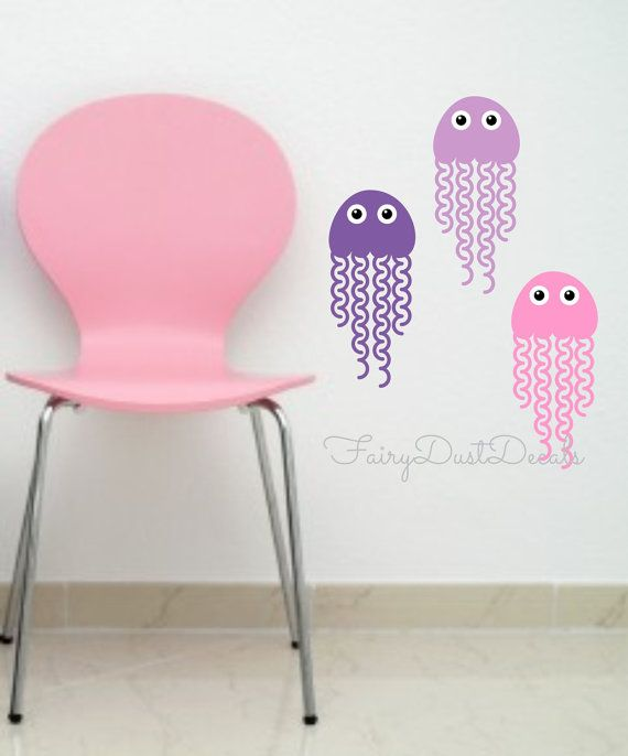Jellyfish Wall Decal Set of 5 Jelly Fish Vinyl Stickers for Nursery Bedroom Office or Home - jellyfish vinyl wall decals - ocean fish decals