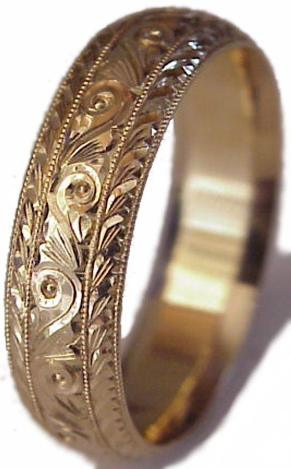 Specification 6 Mm Solid 14k Yellow Gold Ring Hand Engraved Traditional Pattern Finish Comfort Fit Gold Wedding Rings 14k Gold Wedding Ring Wedding Ring Bands