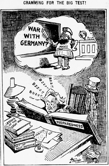 "World War I Live on Twitter: ""Feb 8th 1917: ""Cramming for the big test"" (US cartoon). https://t.co/27mUD6iwwa"""