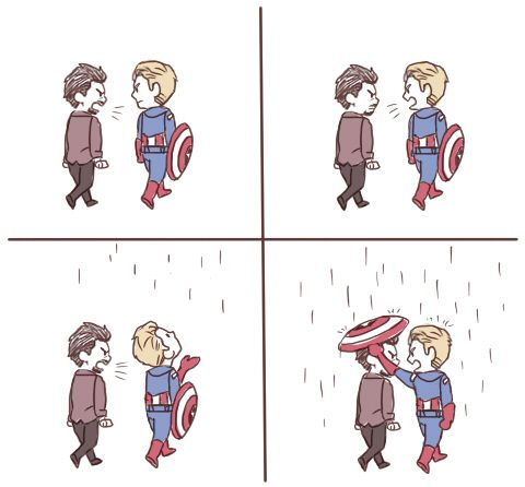 Captain America and Tony Stark. Because family means you can argue like there's no tomorrow and still care. :)