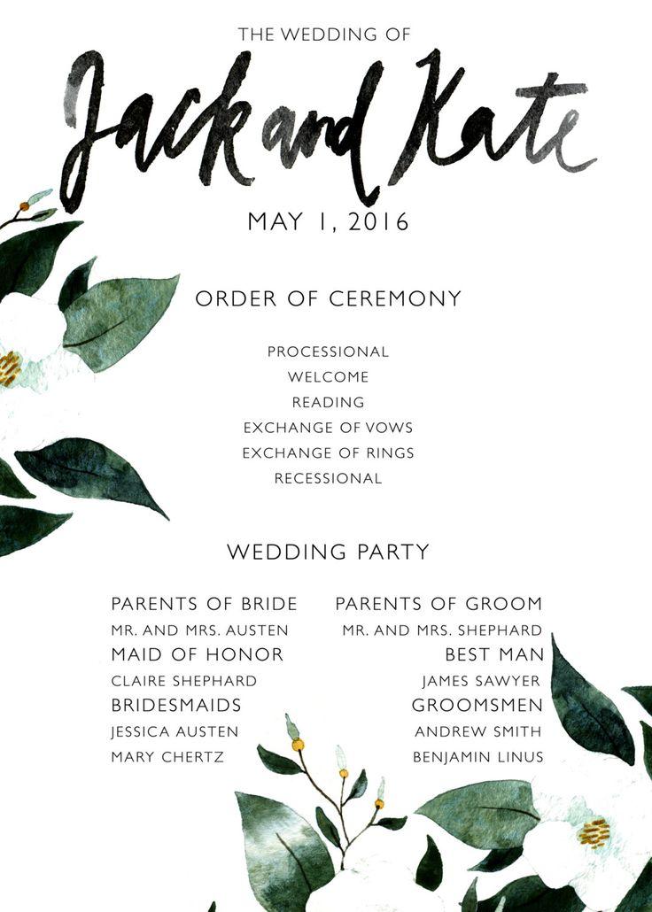 Printable Wedding Ceremony Program Template by BethanyEdenArt
