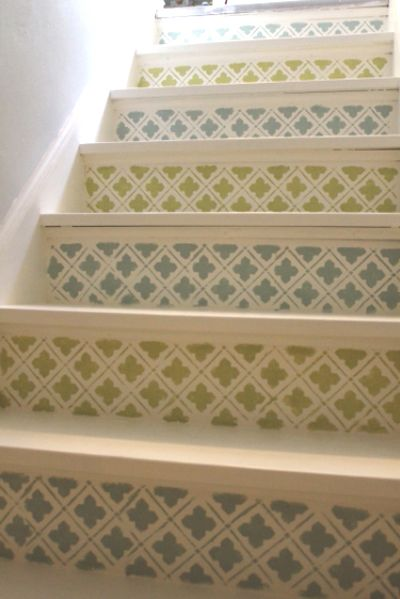 Transform your blah staircase into a work of art by stenciling them for just $1.  http://www.ivillage.com/staircase-designs/7-a-533138