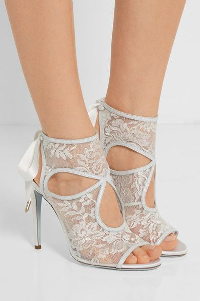 Aquazzura - Sexy Thing Leather-trimmed Cutout Lace Sandals - White - IT40.5