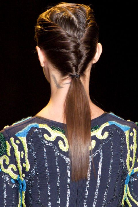 Perfect beauty and hair straight from the Hervé Leger runway for Fall 2015:
