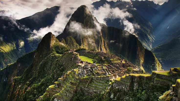 Machu Picchu, Peru, mountains, clouds, hills