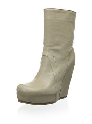 -75,800% OFF Rick Owens Women's Leather Wedge Bootie (Parchment)