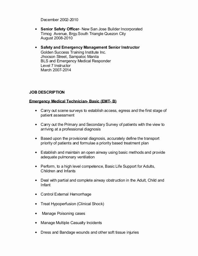 Emt Job Description Resume Fresh Marc Laysa Resume Job Description Resume Office Assistant Job Description