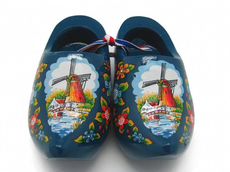 """Wooden Shoe Clogs Dutch Landscape Design Blue (4"""")"""