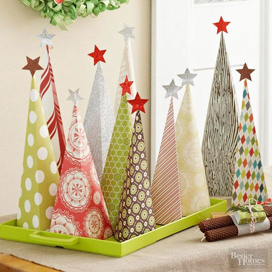 You can craft these decorative paper cones in minutes. For instructions on how to make the paper cones, see the next slide.