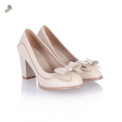 Charm Foot Fashion Bows Womens Chunky High Heel Pumps Shoes (10.5, Beige) - Charm foot pumps for women (*Amazon Partner-Link)
